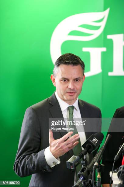 James Shaw speaks during a press conference on August 4 2017 in Wellington New Zealand Green Party coleader Metiria Turei came under fire following...