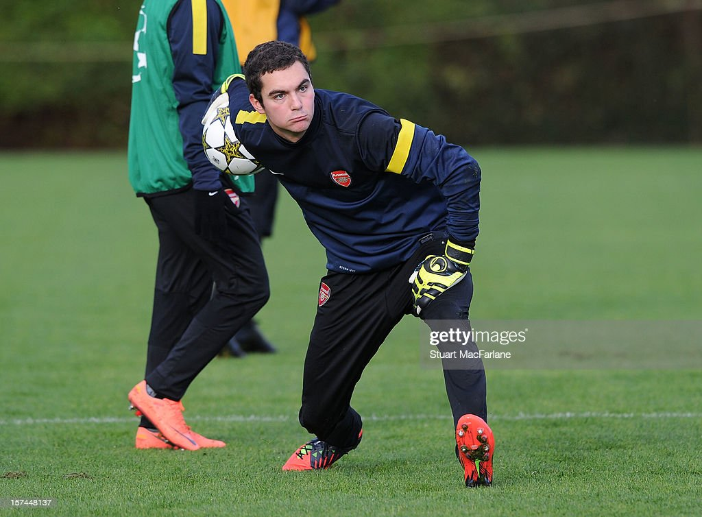 James Shea of Arsenal during a training session at London Colney on December 03, 2012 in St Albans, England.