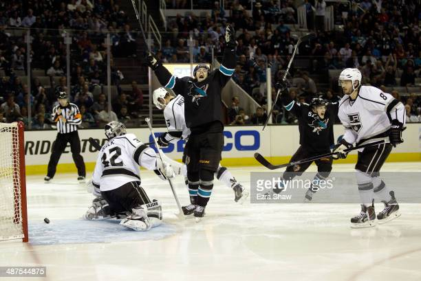 James Sheppard of the San Jose Sharks and Tommy Wingels of the San Jose Sharks celebrate after Matt Irwin of the San Jose Sharks scored a goal on...