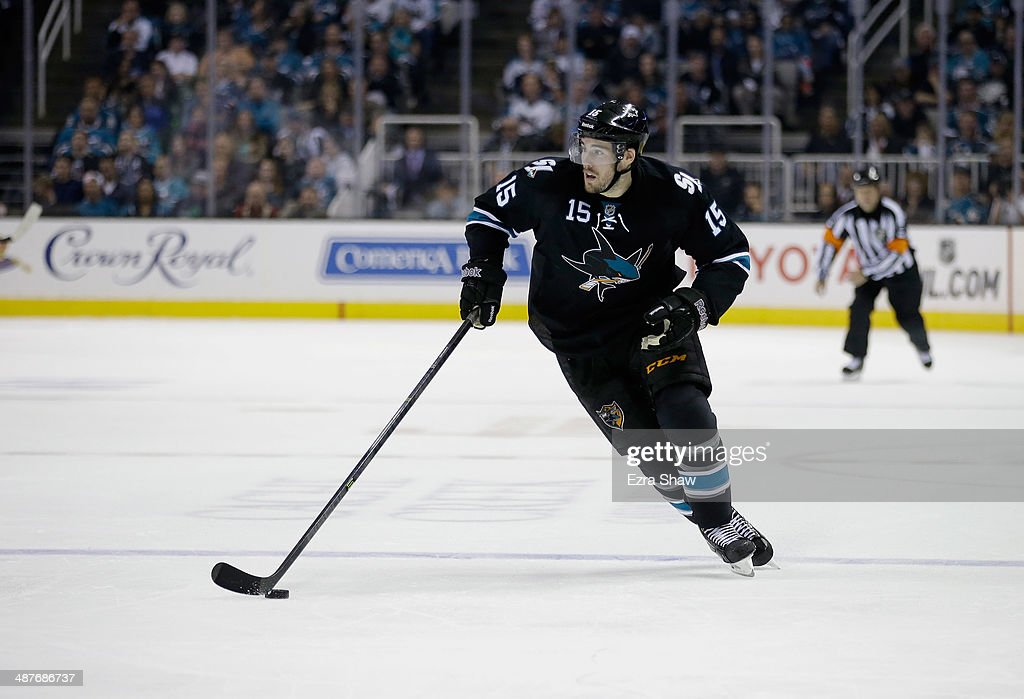 <a gi-track='captionPersonalityLinkClicked' href=/galleries/search?phrase=James+Sheppard&family=editorial&specificpeople=537966 ng-click='$event.stopPropagation()'>James Sheppard</a> #15 of the San Jose Sharks in action against the Los Angeles Kings in Game Two of the First Round of the 2014 NHL Stanley Cup Playoffs at SAP Center on April 20, 2014 in San Jose, California.