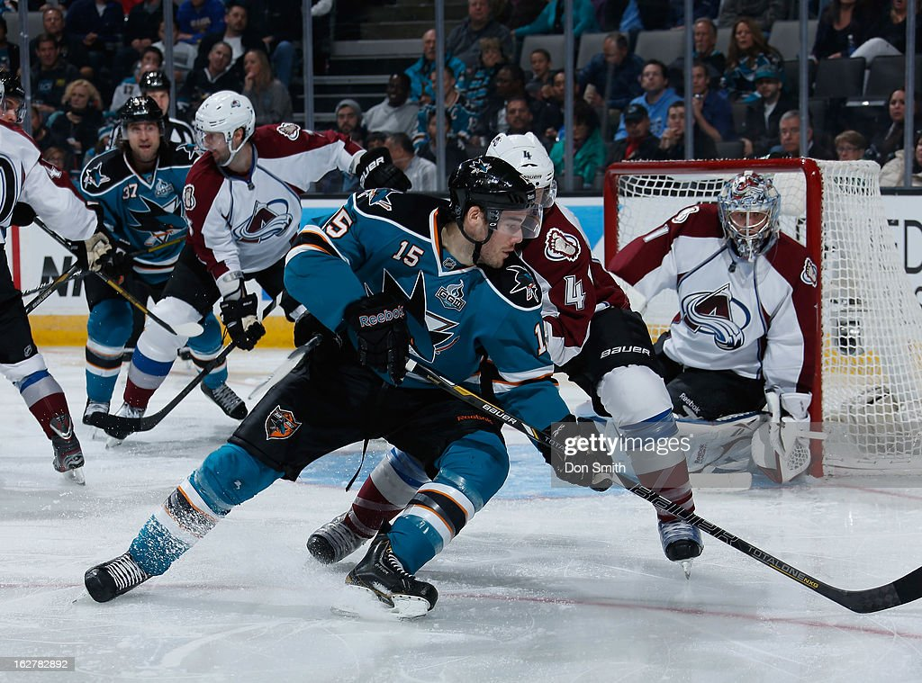 <a gi-track='captionPersonalityLinkClicked' href=/galleries/search?phrase=James+Sheppard&family=editorial&specificpeople=537966 ng-click='$event.stopPropagation()'>James Sheppard</a> #15 of the San Jose Sharks makes a backhanded pass to TJ Galiardi #21 for a goal against <a gi-track='captionPersonalityLinkClicked' href=/galleries/search?phrase=Greg+Zanon&family=editorial&specificpeople=567162 ng-click='$event.stopPropagation()'>Greg Zanon</a> #4 and <a gi-track='captionPersonalityLinkClicked' href=/galleries/search?phrase=Semyon+Varlamov&family=editorial&specificpeople=6264893 ng-click='$event.stopPropagation()'>Semyon Varlamov</a> #1 of the Colorado Avalanche during an NHL game on February 26, 2013 at HP Pavilion in San Jose, California.