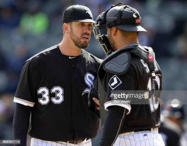 James Shields and Geovany Soto of the Chicago White Sox meet on the mound during the game against the Detroit Tigers on April 6 2017 at Guaranteed...