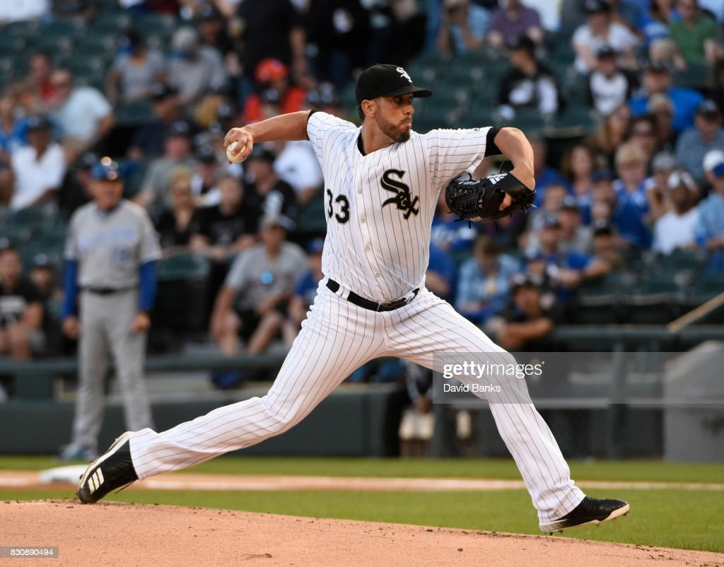 James Shields #33 of the Chicago White Sox pitches against the Kansas City Royals during the first inning on August 12, 2017 at Guaranteed Rate Field in Chicago, Illinois.
