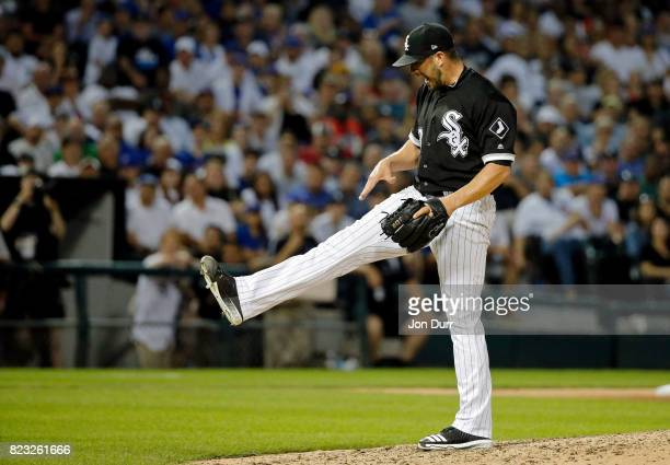 James Shields of the Chicago White Sox reacts after walking Jon Jay of the Chicago Cubs to load the bases during the fourth inning at Guaranteed Rate...