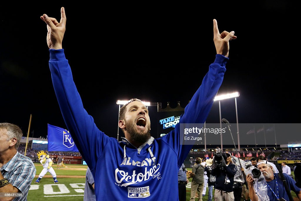 James Shields of the Kansas City Royals celebrates after they defeated the Oakland Athletics 9 to 8 in the 12th inning of their American League Wild...
