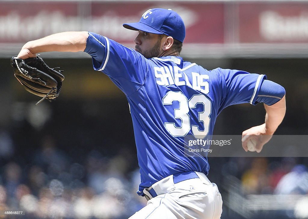 James Shields #33 of the Kansas City Royals pitches during the first inning of a baseball game against the San Diego Padres at Petco Park May 7, 2014 in San Diego, California.