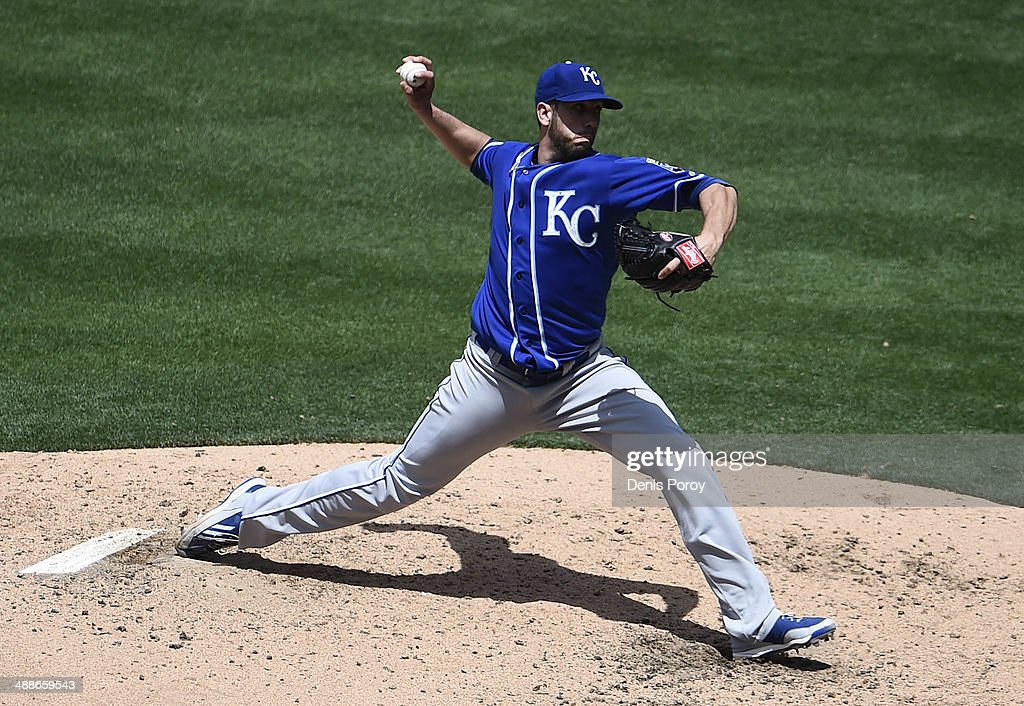 James Shields #33 of the Kansas City Royals pitches during the fourth inning of a baseball game against the San Diego Padres at Petco Park May 7, 2014 in San Diego, California.