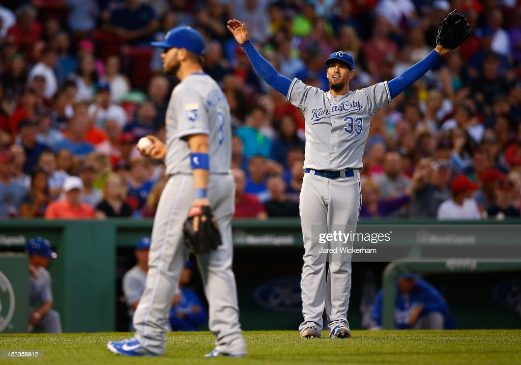 James Shields #33 of the Kansas City Royals reacts following a catch by teammate <a gi-track='captionPersonalityLinkClicked' href=/galleries/search?phrase=Mike+Moustakas&family=editorial&specificpeople=6780077 ng-click='$event.stopPropagation()'>Mike Moustakas</a> #8 of a pop up by David Ortiz #34 of the Boston Red sox in the third inning during the game at Fenway Park on July 18, 2014 in Boston, Massachusetts.