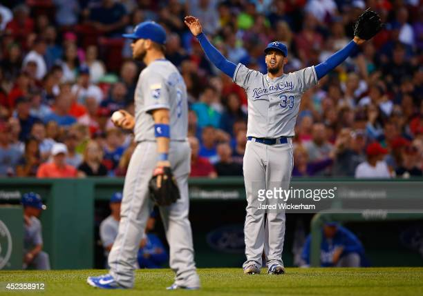 James Shields of the Kansas City Royals reacts following a catch by teammate Mike Moustakas of a pop up by David Ortiz of the Boston Red sox in the...