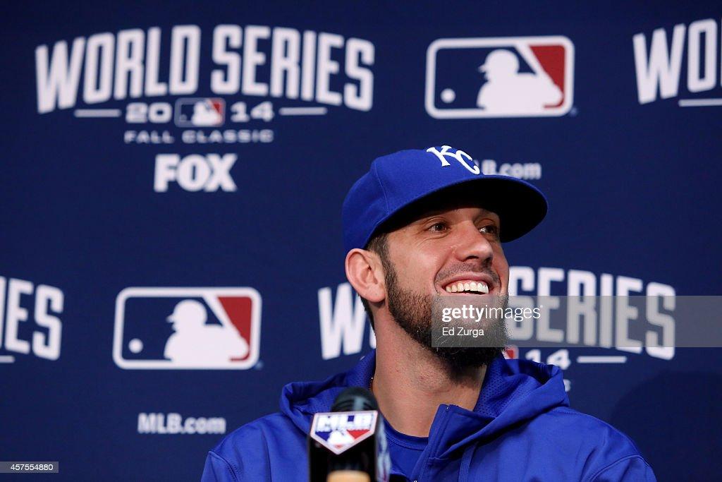 James Shields #33 of the Kansas City Royals speaks to the media during the 2014 World Series Media Day at Kauffman Stadium on October 20, 2014 in Kansas City, Missouri.