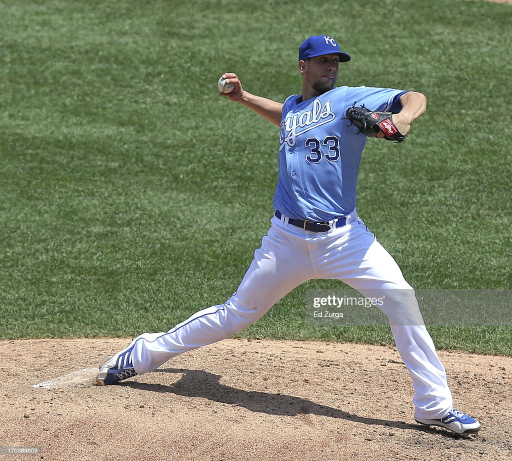 James Shields #33 of the Kansas City Royals throws in the fifth inning during a game against the Detroit Tigers at Kauffman Stadium on June 12, 2013 in Kansas City, Missouri.