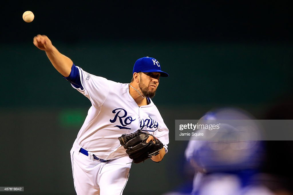 <a gi-track='captionPersonalityLinkClicked' href=/galleries/search?phrase=James+Shields+-+Baseball+Player&family=editorial&specificpeople=8138267 ng-click='$event.stopPropagation()'>James Shields</a> #33 of the Kansas City Royals throws the first pitch of the game during Game One of the 2014 World Series at Kauffman Stadium on October 21, 2014 in Kansas City, Missouri.