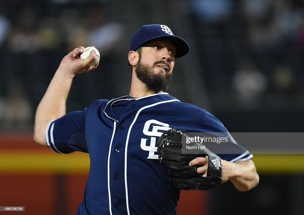 James Shields #33 of the San Diego Padres delivers a first inning pitch against the Arizona Diamondbacks at Chase Field on September 14, 2015 in Phoenix, Arizona.