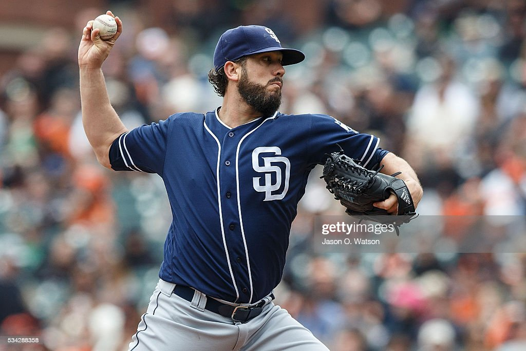 <a gi-track='captionPersonalityLinkClicked' href=/galleries/search?phrase=James+Shields+-+Baseball+Player&family=editorial&specificpeople=8138267 ng-click='$event.stopPropagation()'>James Shields</a> #33 of the San Diego Padres pitches against the San Francisco Giants during the first inning at AT&T Park on May 25, 2016 in San Francisco, California.