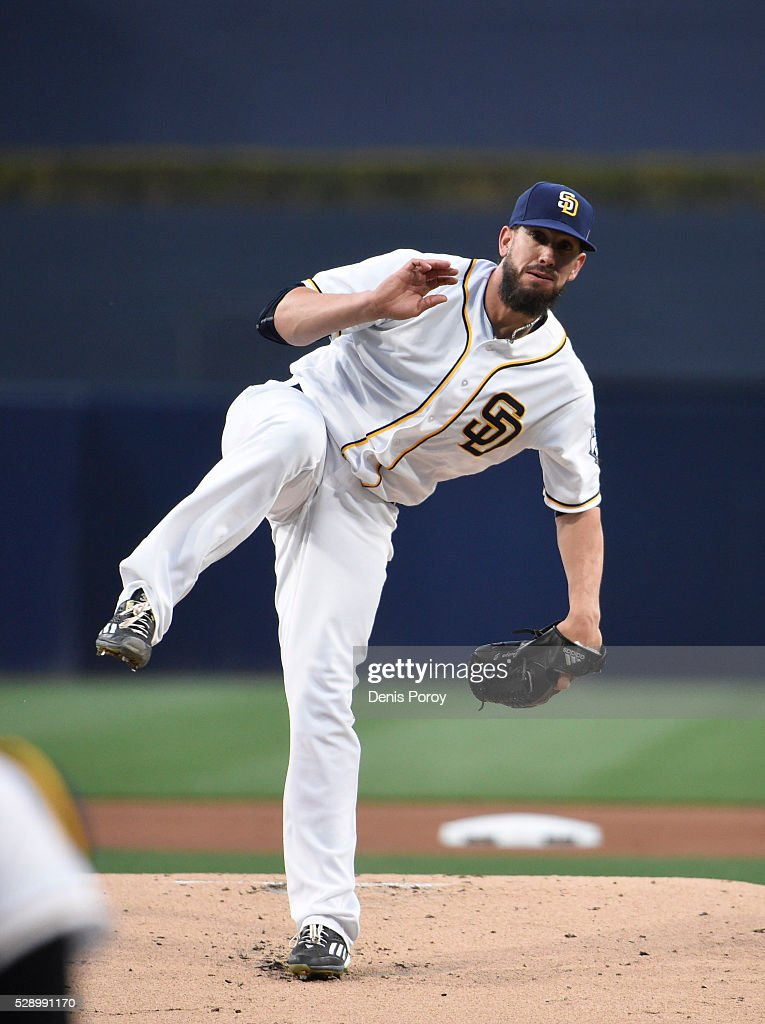 <a gi-track='captionPersonalityLinkClicked' href=/galleries/search?phrase=James+Shields+-+Baseball+Player&family=editorial&specificpeople=8138267 ng-click='$event.stopPropagation()'>James Shields</a> #33 of the San Diego Padres pitches during the first inning of a baseball game against the Colorado Rockies at PETCO Park on May 2, 2016 in San Diego, California.
