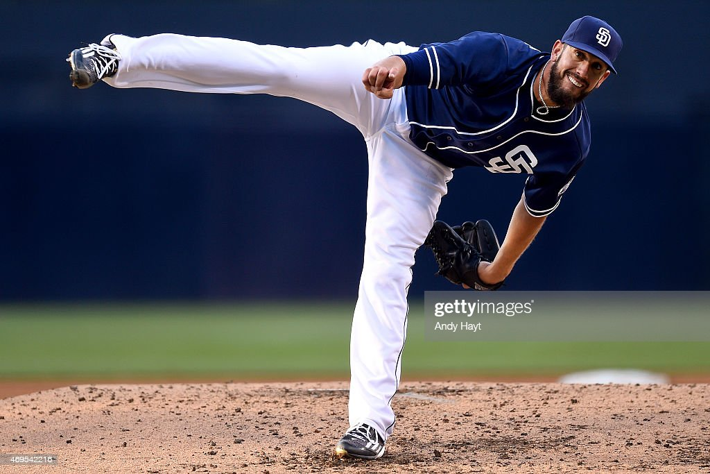 <a gi-track='captionPersonalityLinkClicked' href=/galleries/search?phrase=James+Shields+-+Baseball+Player&family=editorial&specificpeople=8138267 ng-click='$event.stopPropagation()'>James Shields</a> #33 of the San Diego Padres pitches during the game against the San Francisco Giants at Petco Park on April 11, 2015 in San Diego, California.