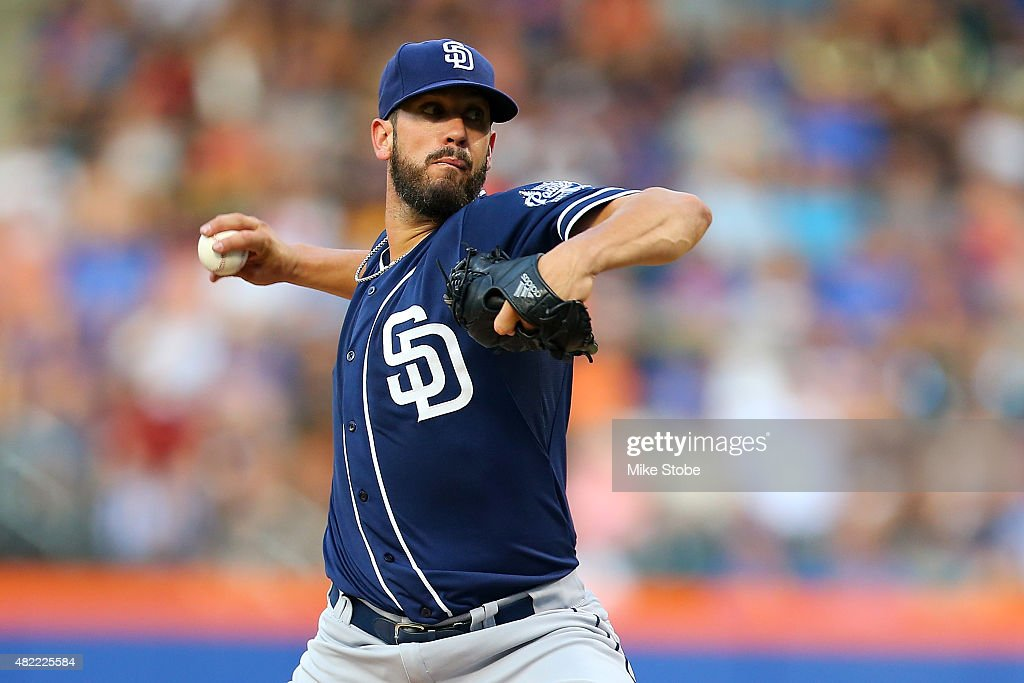 James Shields #33 of the San Diego Padres pitches in the first inning against the New York Mets at Citi Field on July 28, 2015 in Flushing neighborhood of the Queens borough of New York City.