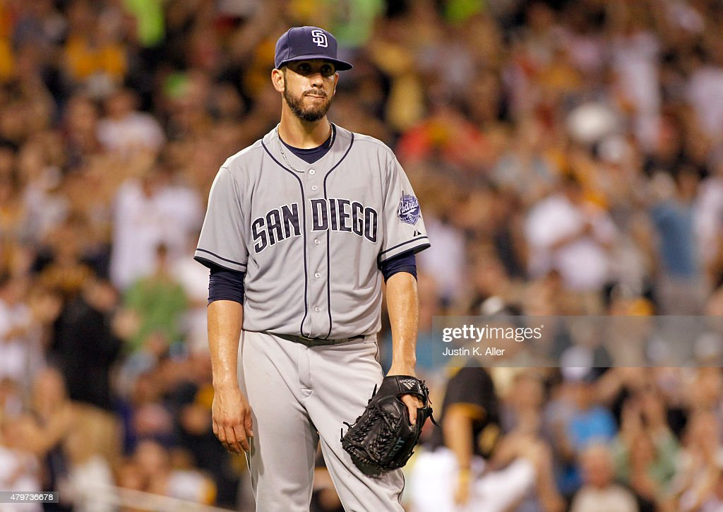 James Shields #33 of the San Diego Padres reacts after a throwing error by third baseman Yangervis Solarte #26 (not pictured) in the seventh inning during the game against the Pittsburgh Pirates at PNC Park on July 6, 2015 in Pittsburgh, Pennsylvania.
