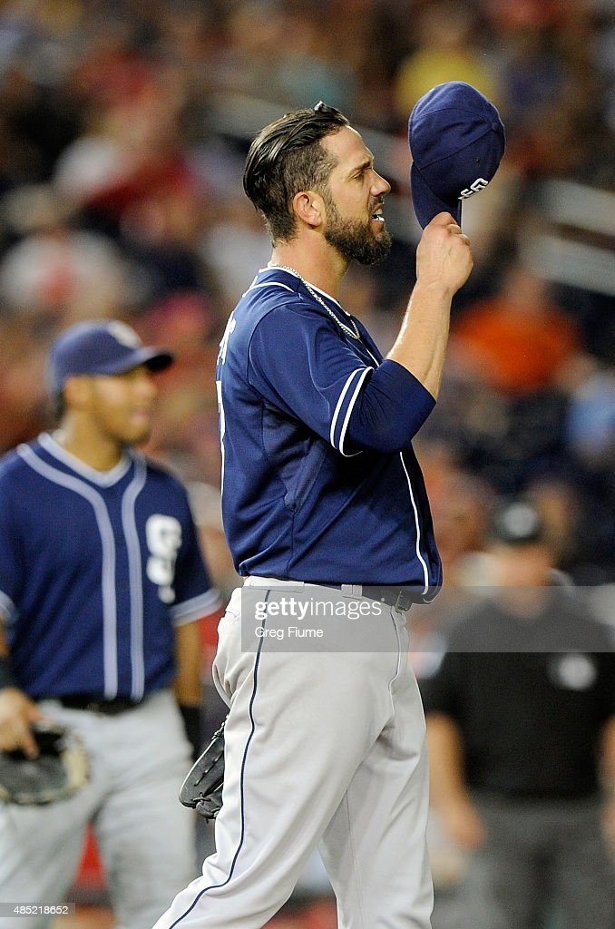James Shields #33 of the San Diego Padres reacts after being hit with a line drive in the sixth inning against the Washington Nationals at Nationals Park on August 25, 2015 in Washington, DC.