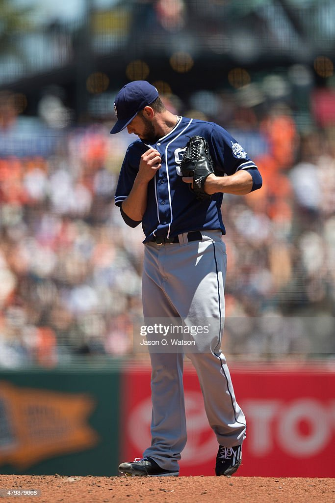 <a gi-track='captionPersonalityLinkClicked' href=/galleries/search?phrase=James+Shields+-+Baseball&family=editorial&specificpeople=8138267 ng-click='$event.stopPropagation()'>James Shields</a> #33 of the San Diego Padres reacts after giving up a run against the San Francisco Giants during the first inning at AT&T Park on June 25, 2015 in San Francisco, California. The San Francisco Giants defeated the San Diego Padres 13-8.