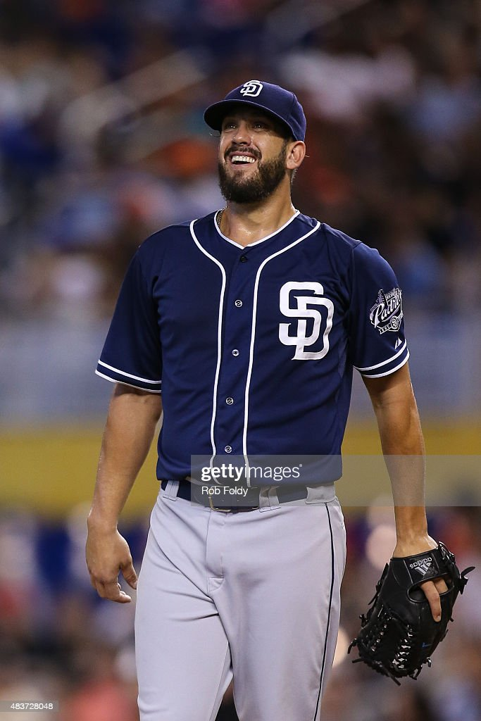 <a gi-track='captionPersonalityLinkClicked' href=/galleries/search?phrase=James+Shields+-+Baseball&family=editorial&specificpeople=8138267 ng-click='$event.stopPropagation()'>James Shields</a> #33 of the San Diego Padres reacts during the first inning of the game against the Miami Marlins at Marlins Park on August 2, 2015 in Miami, Florida.
