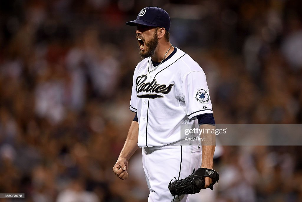 <a gi-track='captionPersonalityLinkClicked' href=/galleries/search?phrase=James+Shields+-+Baseball&family=editorial&specificpeople=8138267 ng-click='$event.stopPropagation()'>James Shields</a> #33 of the San Diego Padres reacts to the end of the 5th inning during the game against the Atlanta Braves at Petco Park on August 18, 2015 in San Diego, California.