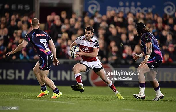 James Short of Exeter and Jared Payne of Ulster during the Champions Cup Pool 5 game at Kingspan Stadium on October 22 2016 in Belfast Northern...