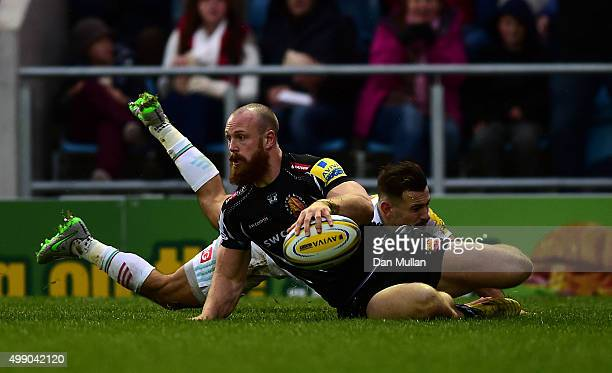 James Short of Exeter Chiefs dives over for his side's first try during the Aviva Premiership match between Exeter Chiefs and Harlequins at Sandy...