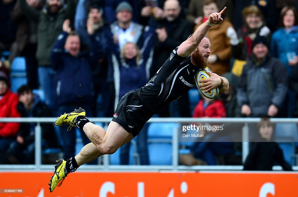 James Short of Exeter Chiefs dives over for his side's first try during the Aviva Premiership match between Exeter Chiefs and Saracens at Sandy Park on February 7, 2016 in Exeter, England.
