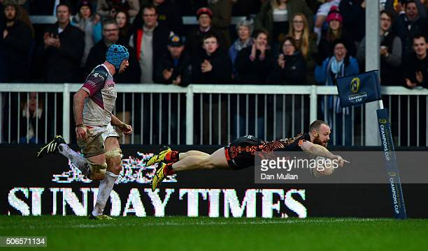 James Short of Exeter Chiefs dives over to score his side's third try during the European Rugby Champions Cup Pool 2 match between Exeter Chiefs and...