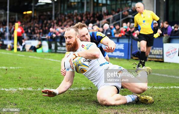 James Short of Exeter Chiefs scores a try during the Aviva Premiership match between Worcester Warriors and Exeter Chiefs at Sixways Stadium on...