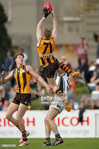 James Sicily of Box Hill marks the ball during the VFL Preliminary Final match between Box Hill Hawks and Sandringham at North Port Oval on September...