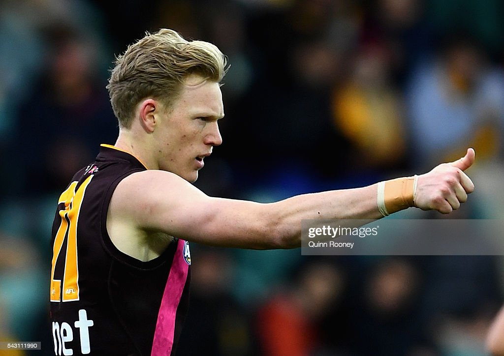 James Sicily of the Hawks celebrates kicking a goal during the round 14 AFL match between the Hawthorn Hawks and the Gold Coast Suns at Aurora Stadium on June 26, 2016 in Launceston, Australia.