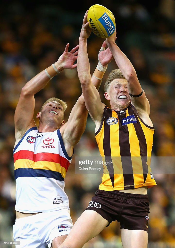 James Sicily of the Hawks marks infront of Daniel Talia of the Crows during the round five AFL match between the Hawthorn Hawks and the Adelaide Crows at Melbourne Cricket Ground on April 22, 2016 in Melbourne, Australia.