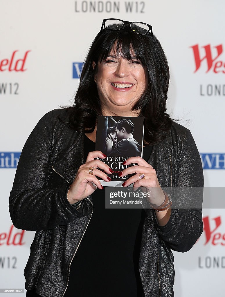 E.L. James signs copies of '50 Shades of Grey' as the film is released at Westfield London on February 17, 2015 in London, England.