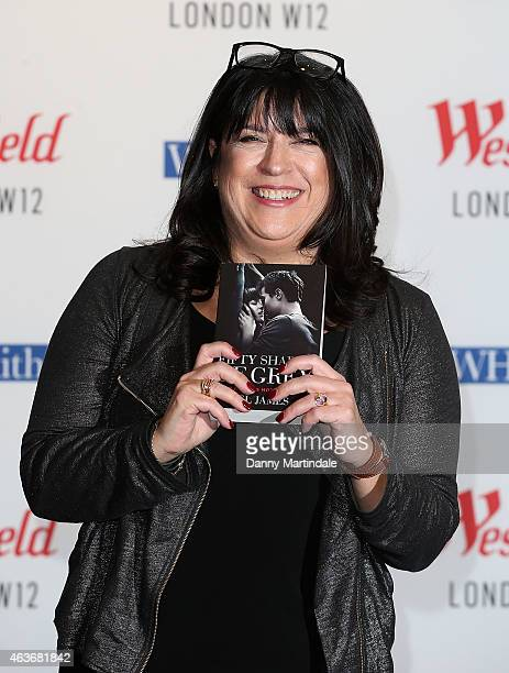 L James signs copies of '50 Shades of Grey' as the film is released at Westfield London on February 17 2015 in London England