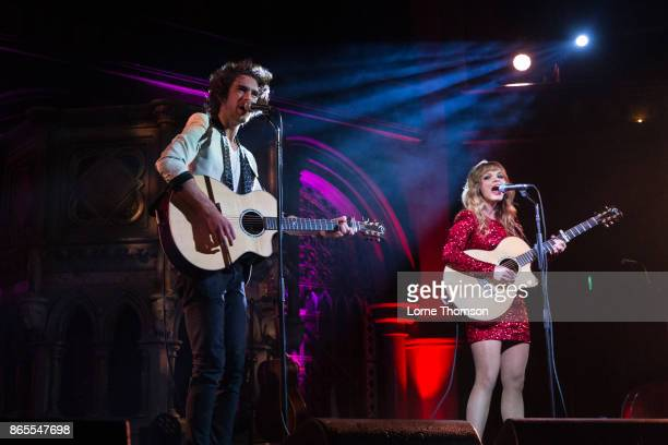 James Sinclair Stott and Karli Chayne of Cross Atlantic perform live on stage at the Union Chapel on October 23 2017 in London England