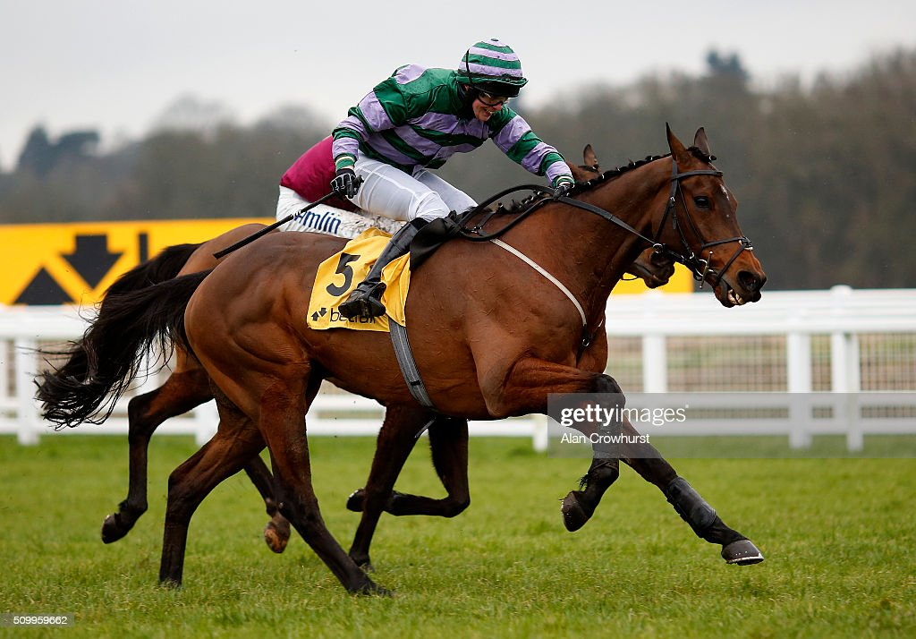 James Slevin riding Count Guido Deiro clear the last to win The Betfair Acca Edge handicap Hurdle Race at Newbury racecourse on February 13, 2016 in Newbury, England.