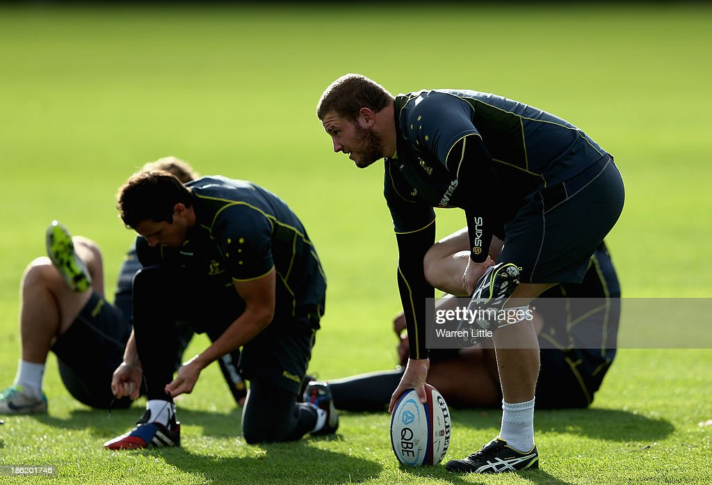 James Slipper of Australia in action during a training session at Latymer School on October 29, 2013 in London, England.