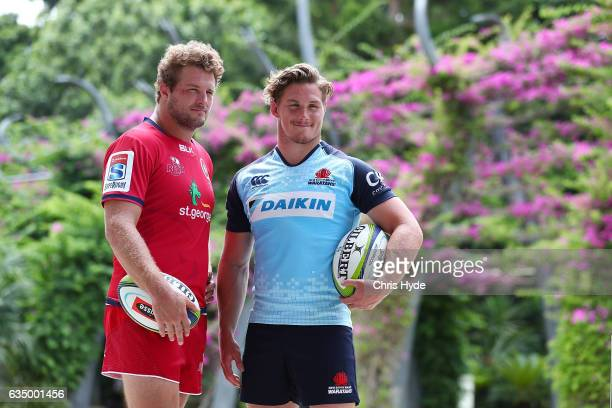 James Slipper of the Reds and Michael Hooper of the Waratahs pose during the 2017 Super Rugby Media Launch at South Bank on February 13 2017 in...