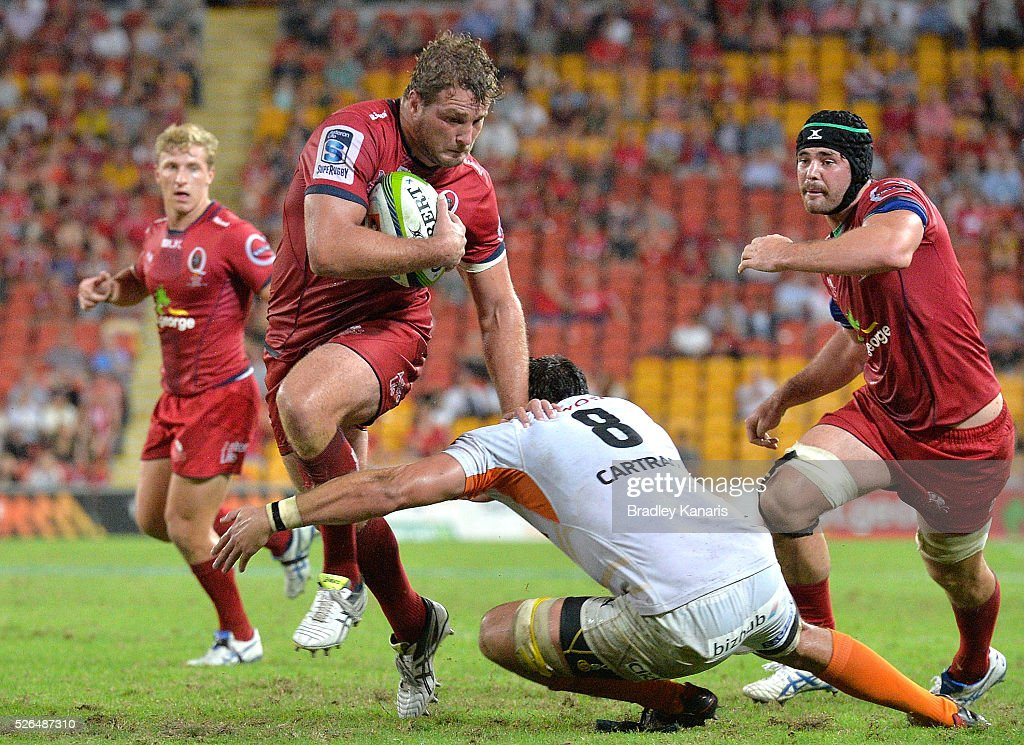 <a gi-track='captionPersonalityLinkClicked' href=/galleries/search?phrase=James+Slipper&family=editorial&specificpeople=6387734 ng-click='$event.stopPropagation()'>James Slipper</a> of the Reds breaks away from the defence during the round 10 Super Rugby match between the Reds and the Cheetahs at Suncorp Stadium on April 30, 2016 in Brisbane, Australia.
