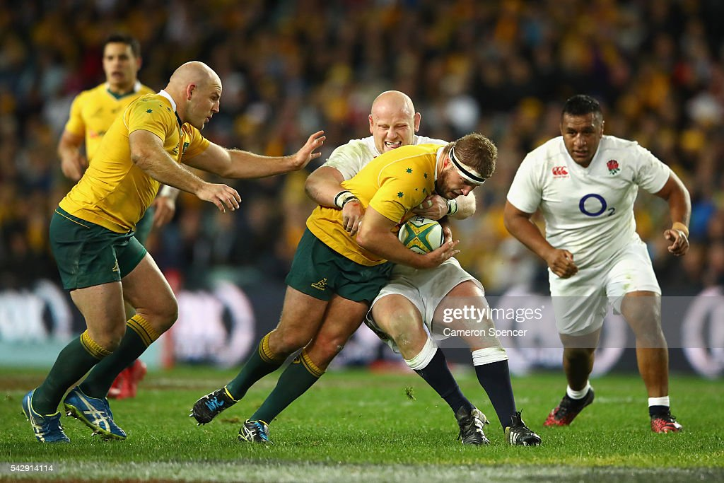 James Slipper of the Wallabies is tackled during the International Test match between the Australian Wallabies and England at Allianz Stadium on June 25, 2016 in Sydney, Australia.