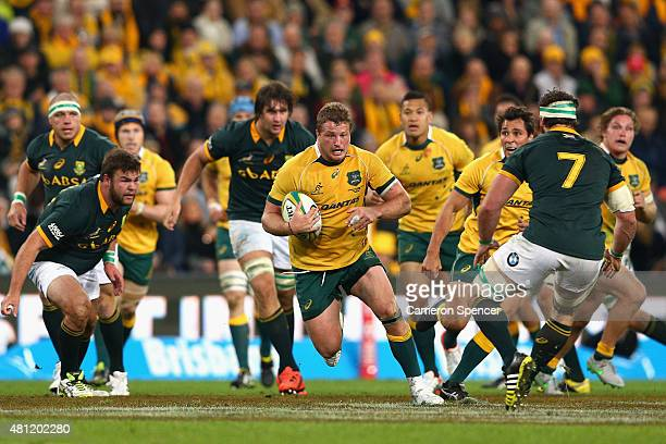 James Slipper of the Wallabies runs the ball during The Rugby Championship match between the Australian Wallabies and the South Africa Springboks at...