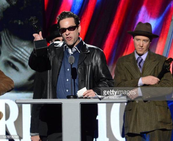 James Slovak brother of inductee Hillel Slovak of the Red Hot Chili Peppers speaks on stage at the 27th Annual Rock And Roll Hall Of Fame Induction...