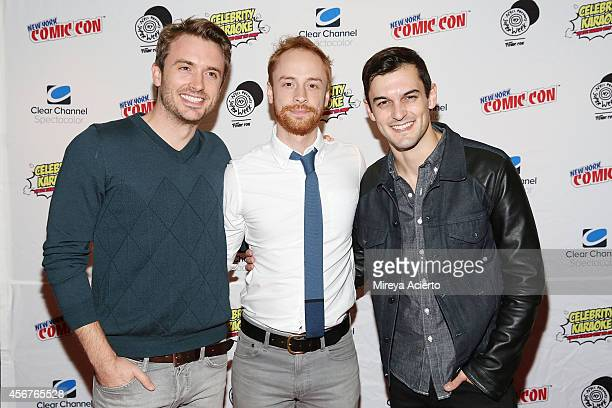James Snyder Rob Morrison and Wesley Taylor attend Celebrity Karaoke 'Nerds' Cast Song Preview at Hard Rock Cafe Times Square on October 6 2014 in...