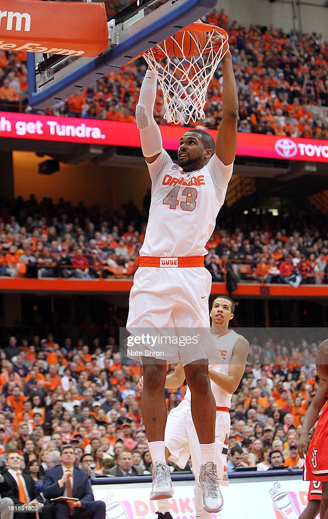 James Southerland #43 of the Syracuse Orange dunks the ball during the game against the St. John's Red Storm at the Carrier Dome on February 10, 2013 in Syracuse, New York.