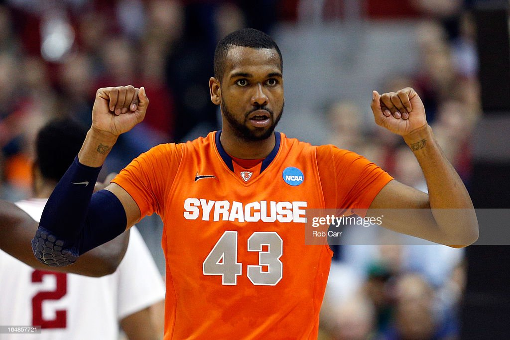 James Southerland #43 of the Syracuse Orange gestures against the Indiana Hoosiers during the East Regional Round of the 2013 NCAA Men's Basketball Tournament at Verizon Center on March 28, 2013 in Washington, DC.
