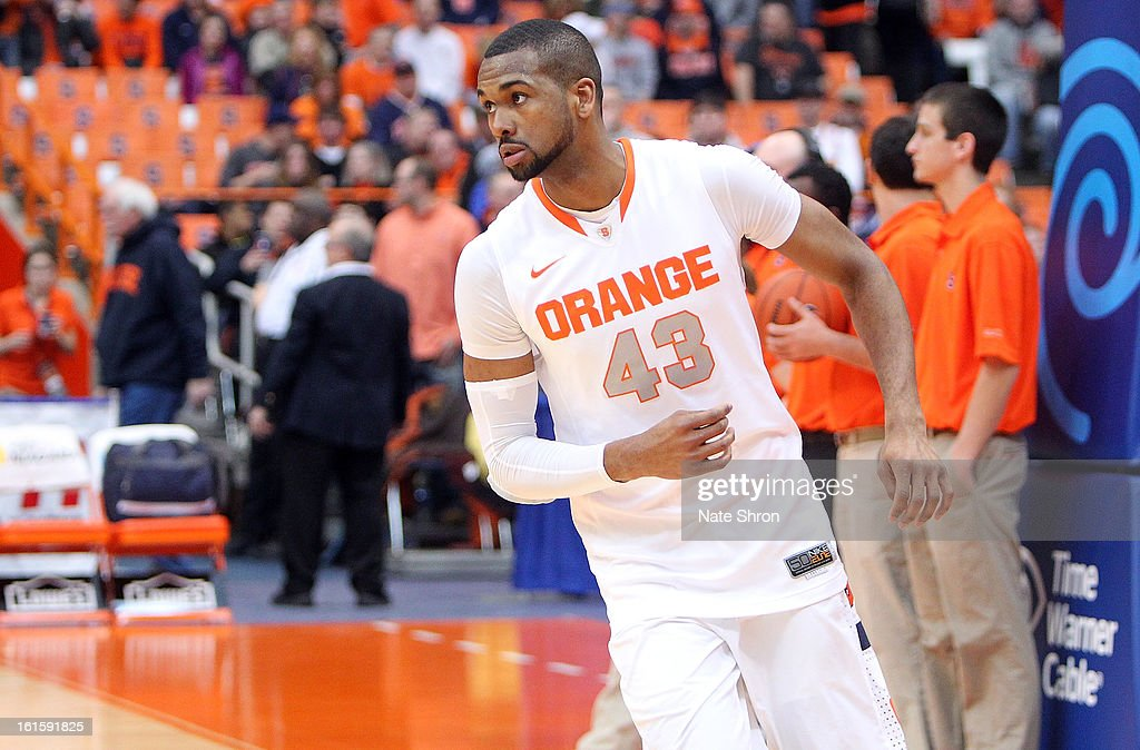 James Southerland #43 of the Syracuse Orange runs on the court during warm ups prior to the game against the St. John's Red Storm at the Carrier Dome on February 10, 2013 in Syracuse, New York.