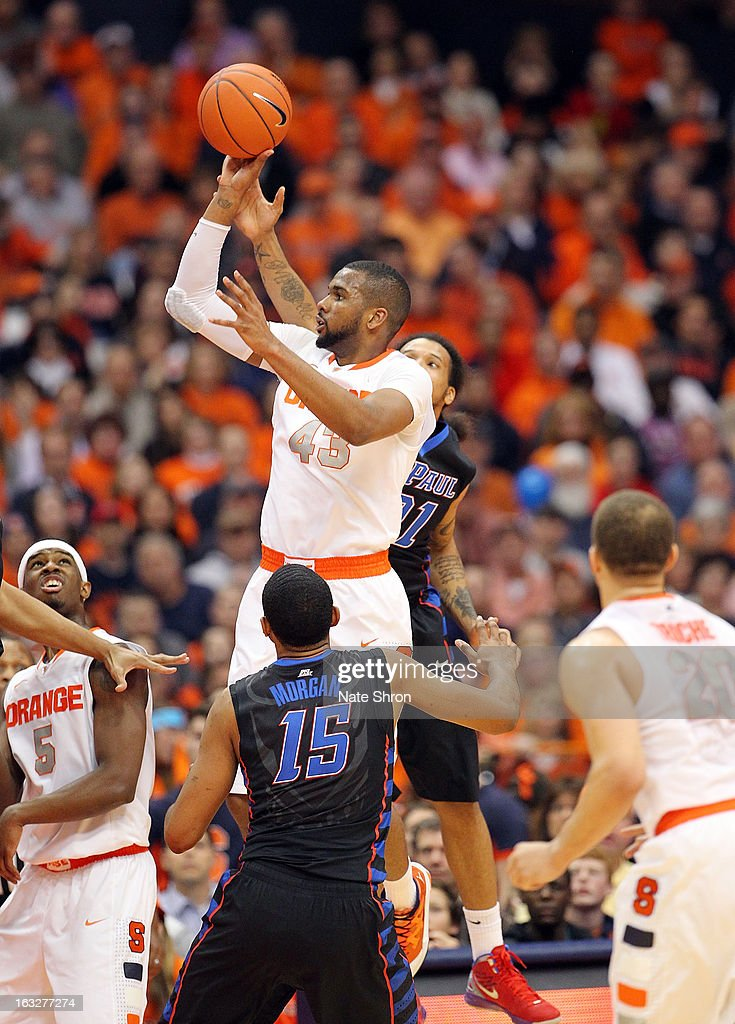 James Southerland #43 of the Syracuse Orange shoots against the DePaul Blue Demons during the game at the Carrier Dome on March 6, 2013 in Syracuse, New York.