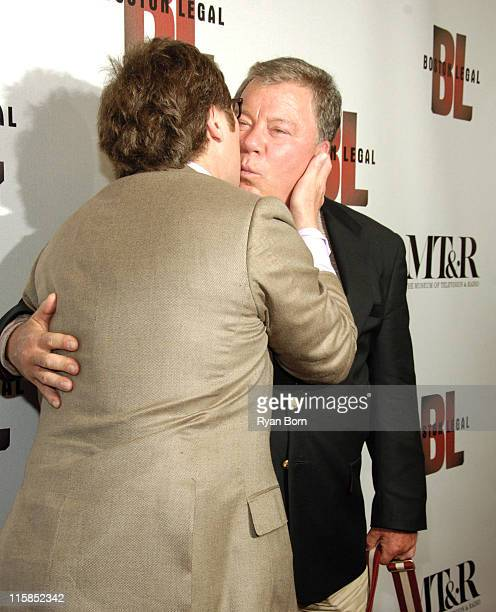 James Spader and William Shatner during 'Boston Legal' Celebrates It's Season One DVD Debut at The 21 Club in New York City New York United States